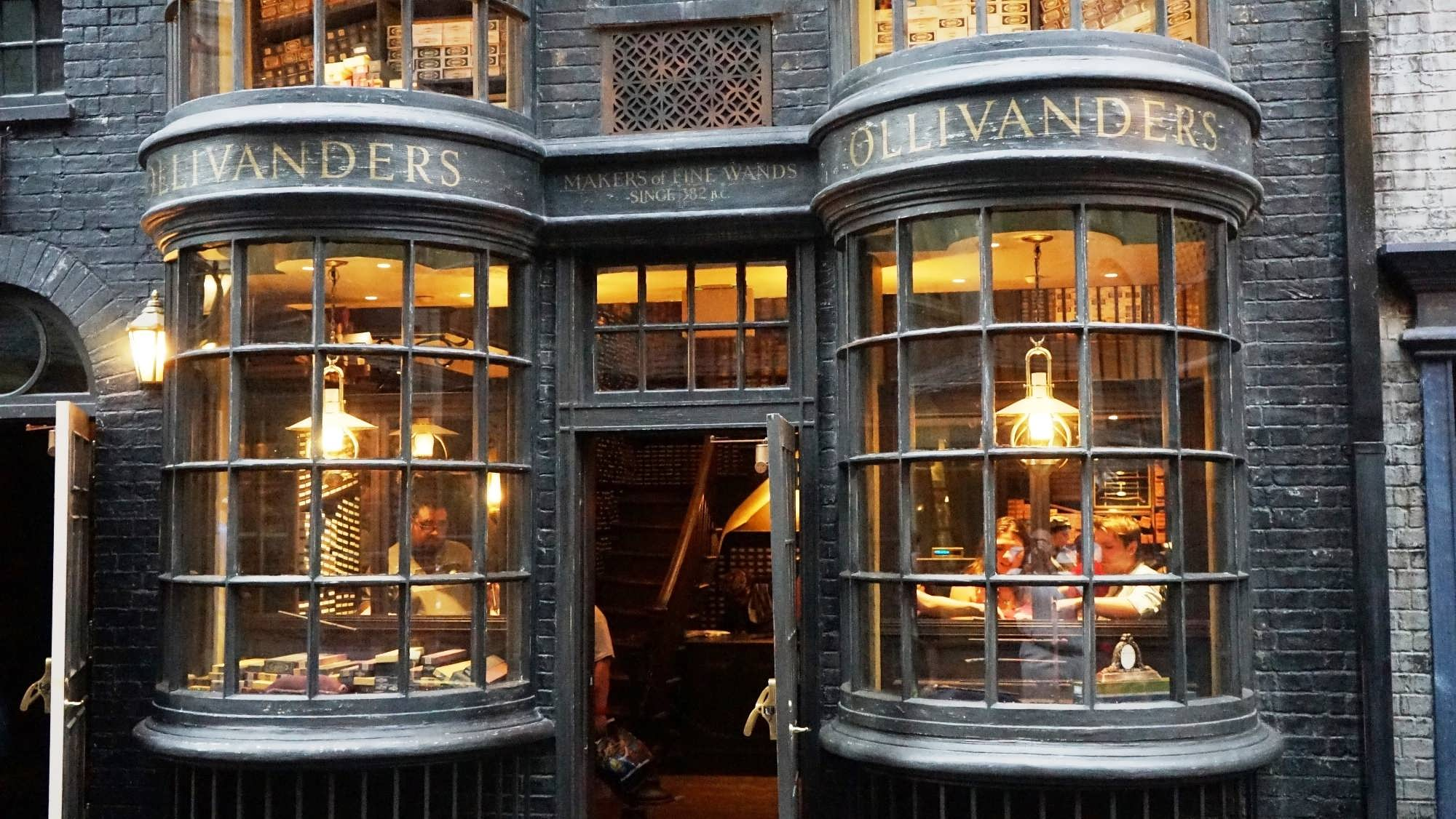 Ollivander's wand shop storefront in Diagon Alley
