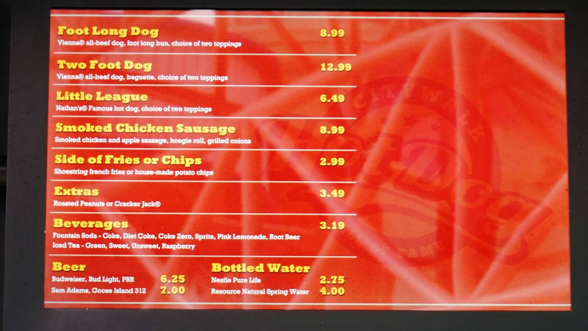 Citywalk Hot Dog Menu
