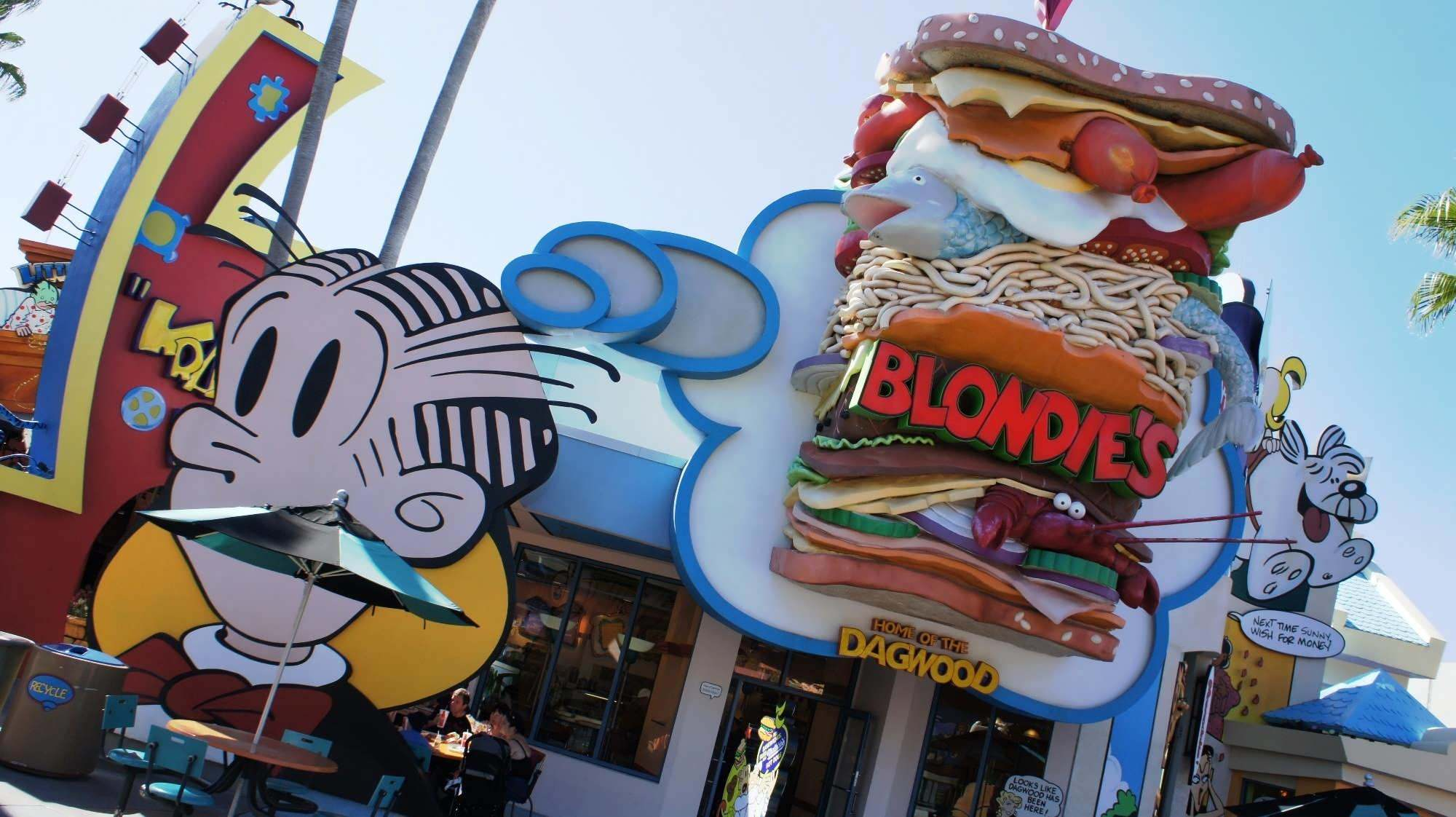 The entrance to Blondie's features a sandwich that is several feet high