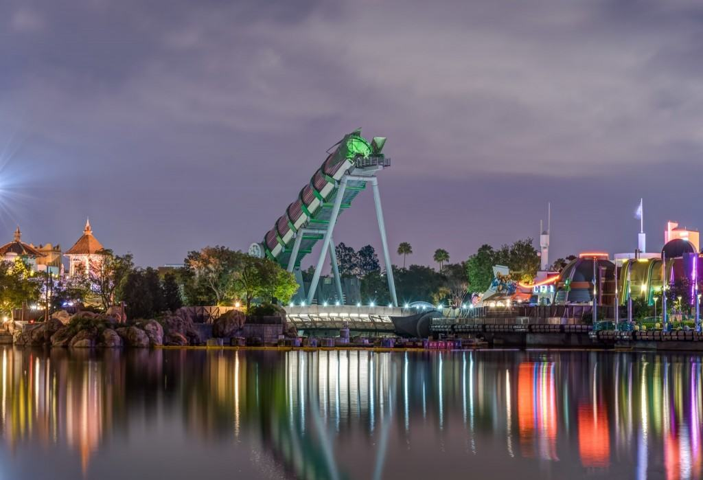 Hulk across Islands of Adventure lagoon