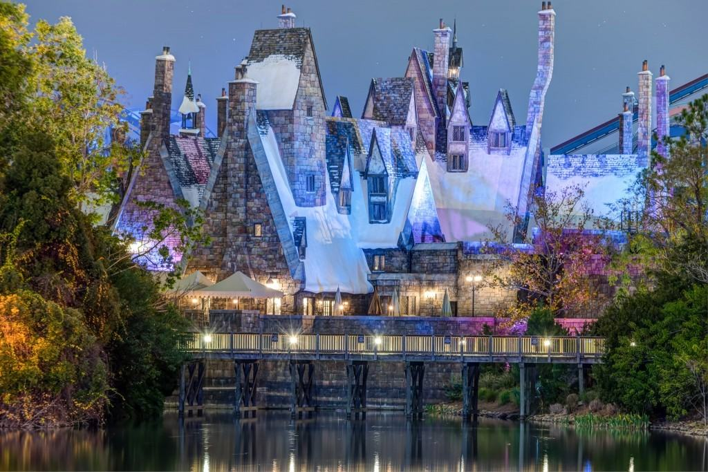 Hogsmeade from across the Islands of Adventure lagoon