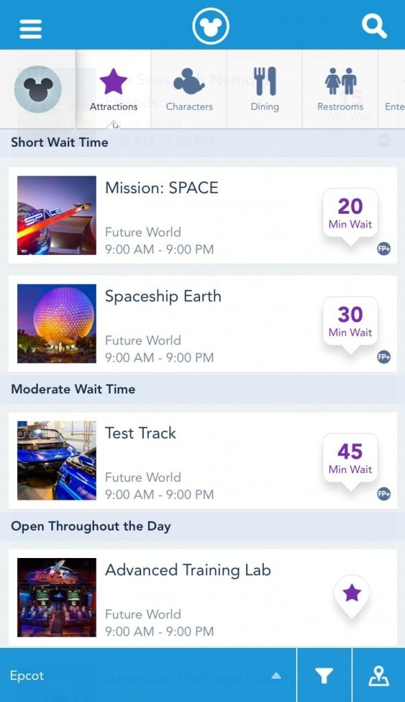 The My Disney Experience app