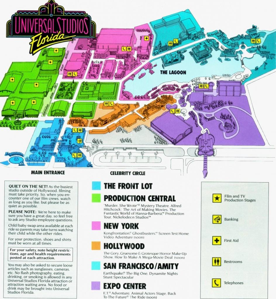 Opening day map - Universal Studios Florida in 1990