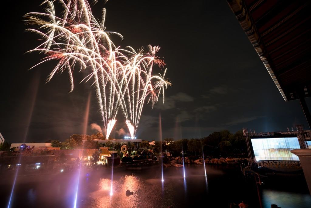 Fireworks of Universal's Cinematic Spectacular illuminate Universal Studios Florida