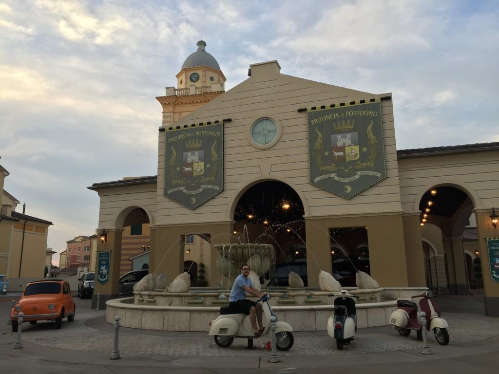 Exploring the grounds at Loews Portofino Bay Hotel