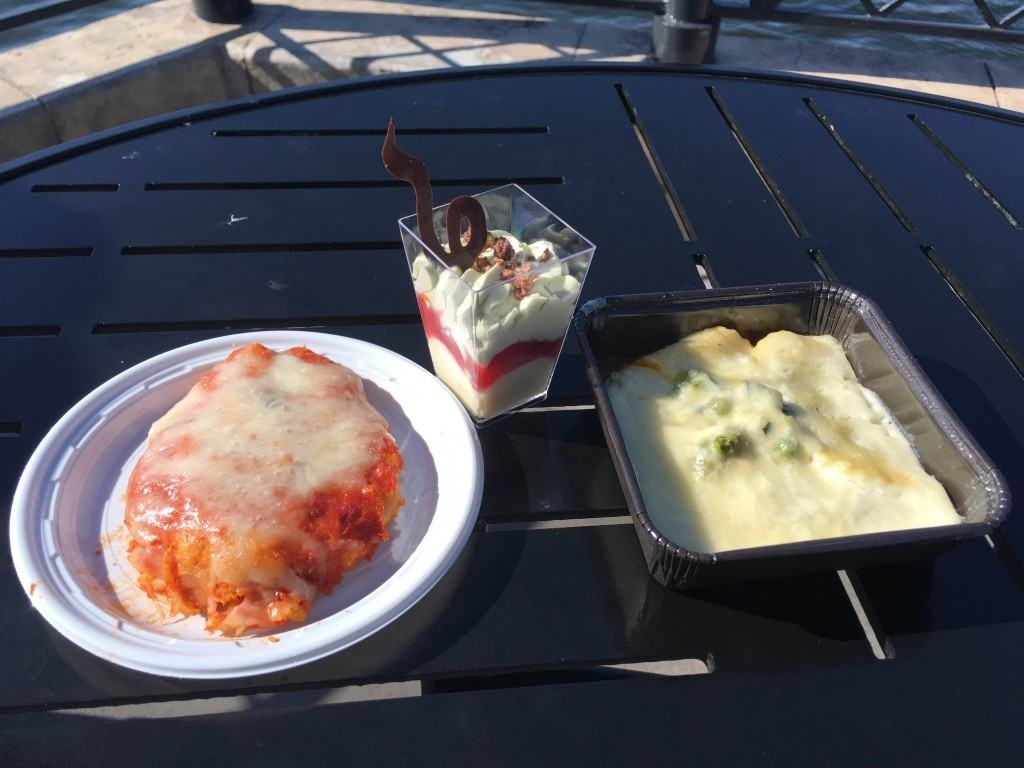 Italian offerings from the Primavera Kitchen; Pollo alla Parmigiana, Cremoso al Pistacchio, and Mezze Lune Primavera