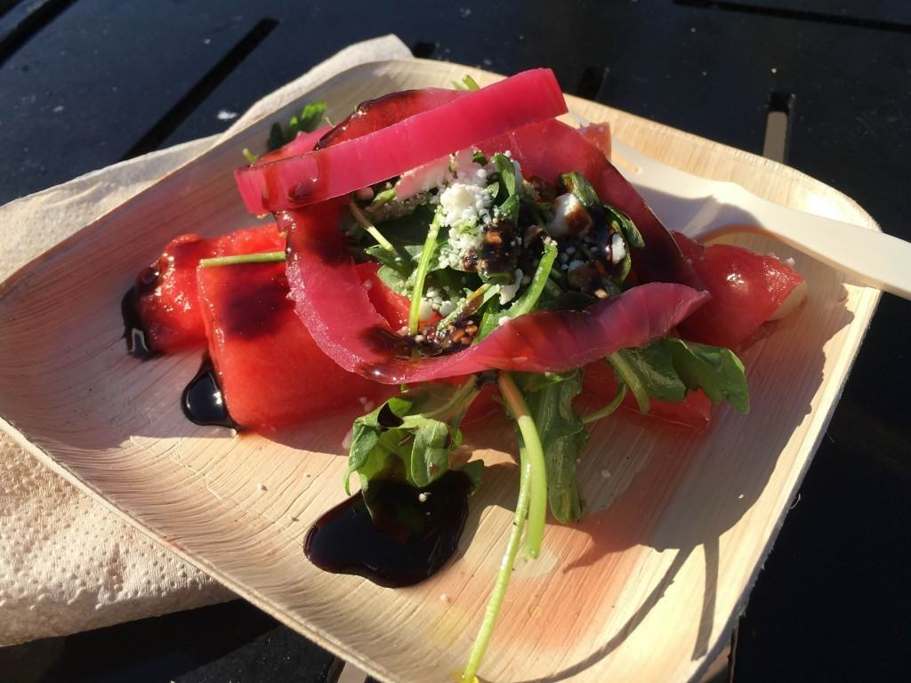 Watermelon salad; located at Urban Farm Eats
