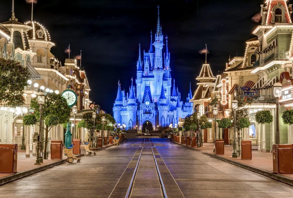 Main Street USA And Cinderella Castle At Walt Disney World In Orlando Florida
