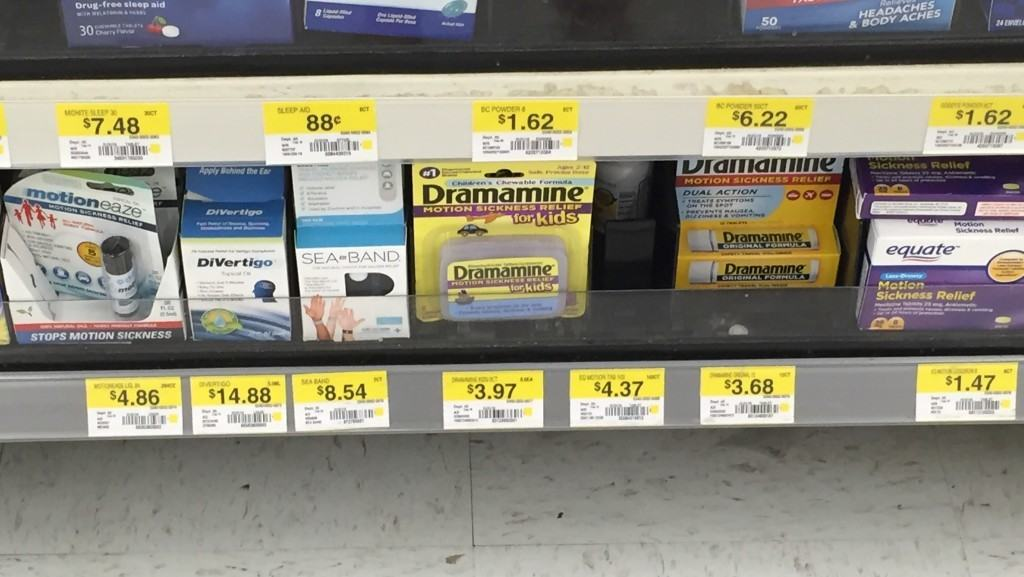 Motion Sickness Remedies available at any drugstore