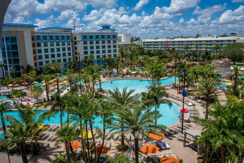 Loews Sapphire Falls Resort pool area at Universal Orlando
