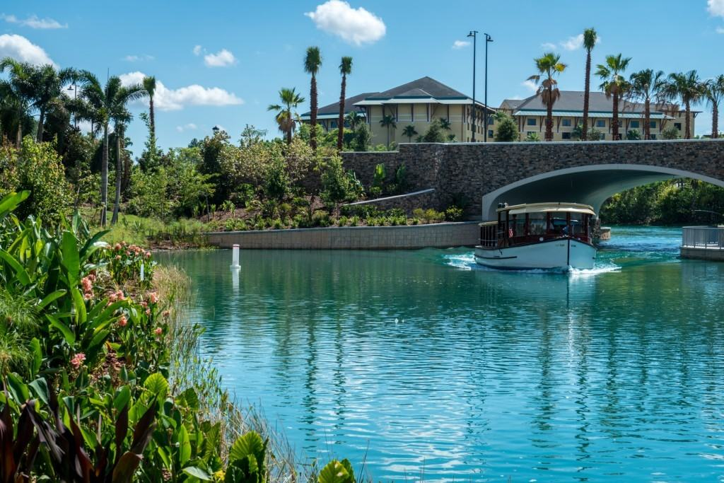 Water Taxi heading towards Loews Sapphire Falls Resort at Universal Orlando Resort