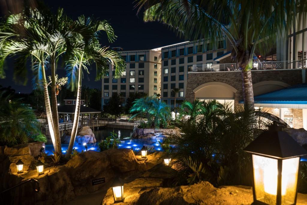 Guest rooms overlook Sapphire Falls Resort's beautiful waterfalls