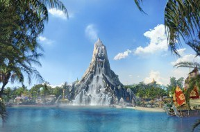 Wave Village and Krakatau at Universal's Volcano Bay conceptual art