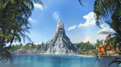 Wave Village and Krakatau at Universal's Volcano Bay conceptual art