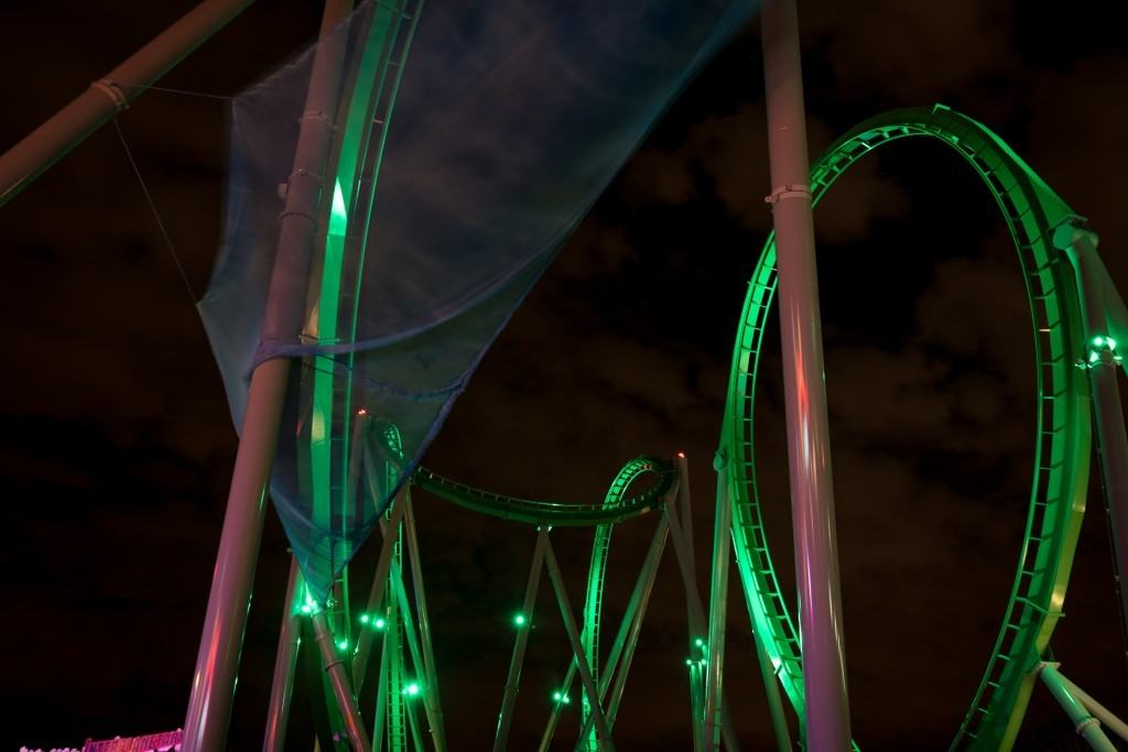 Under the new Incredible Hulk Coaster