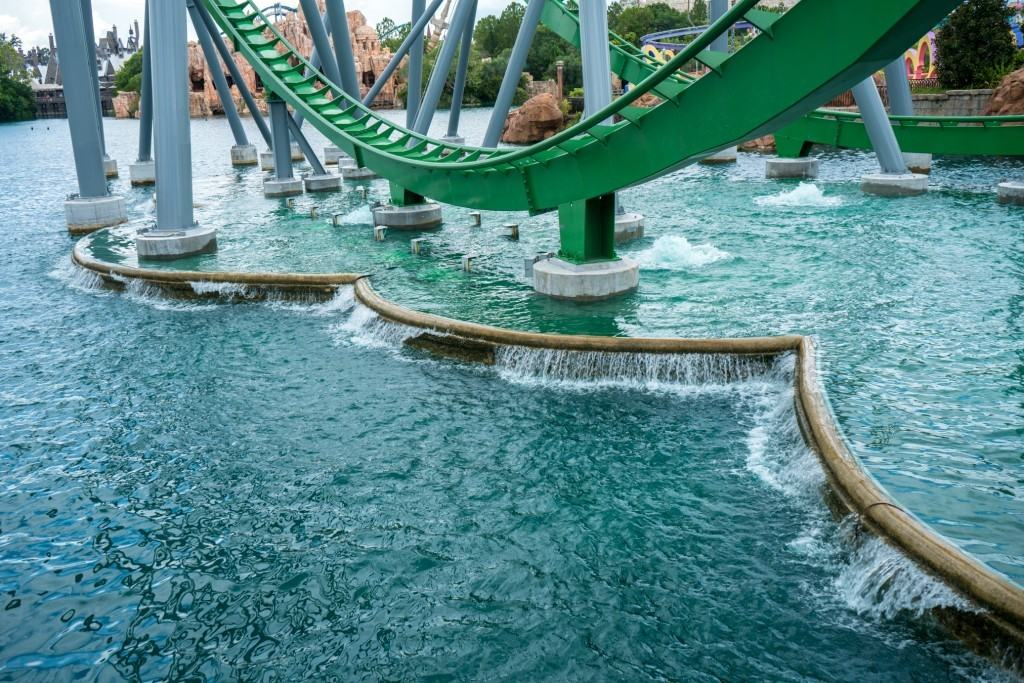 The new Incredible Hulk Coaster water feature