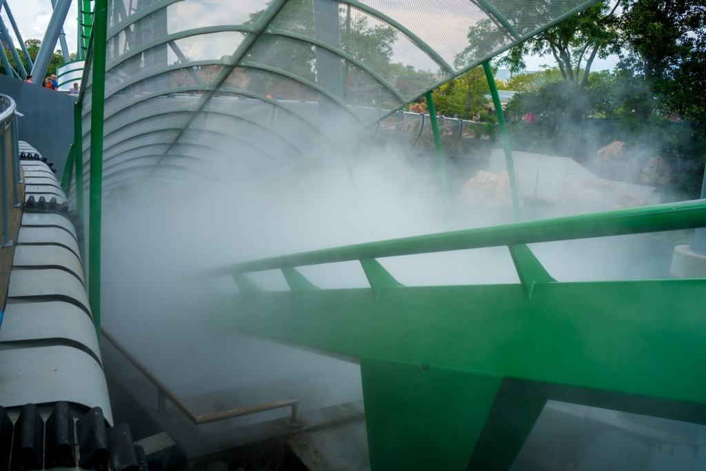 The new Incredible Hulk Coaster mist tunnel