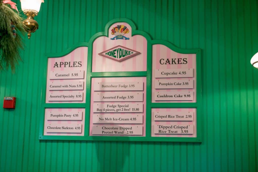 Honeydukes pricing at The Wizarding World of Harry Potter - Hogsmeade
