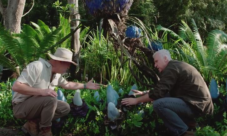 James Cameron inspecting the plantlife of Disney's Pandora - The World of Avatar