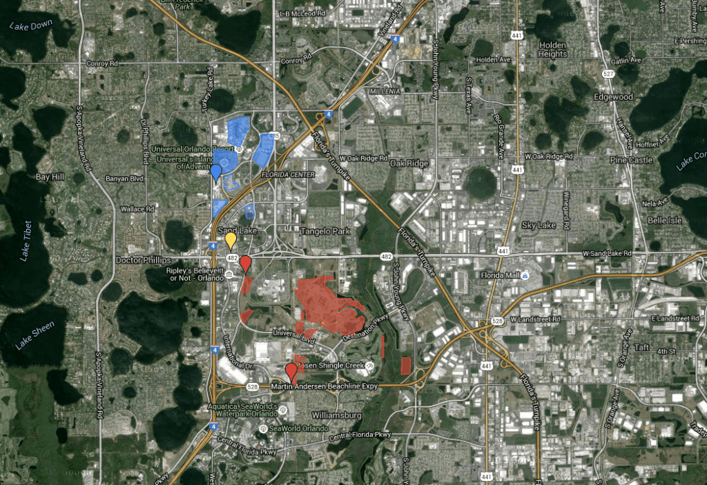 The map of Universal Orlando Resort and Site B