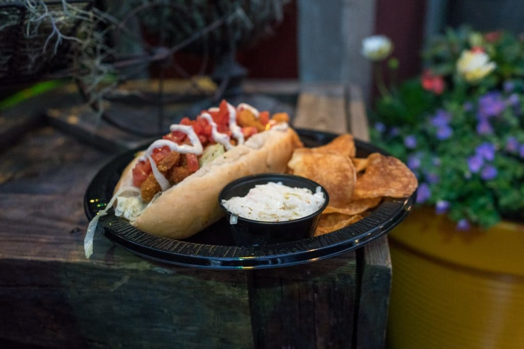 Shrimp Po'Boy Sandwich Platter ($11.49) at Universal Mardi Gras