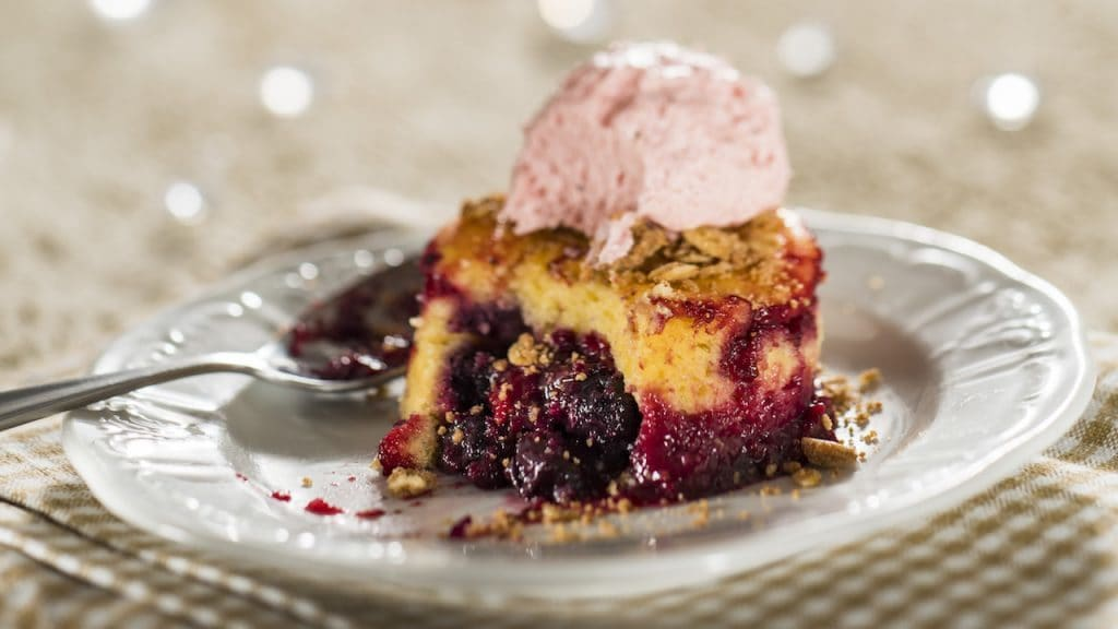 Warm Wild Berry Buckle with Pepper Berry Sorbet (vegetarian)