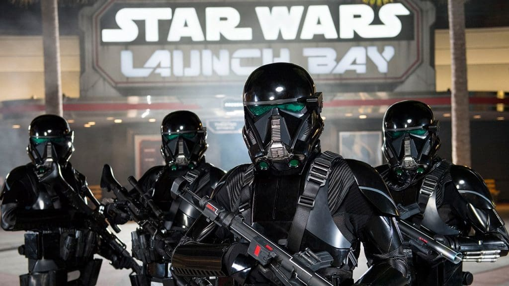 AWR Troopers in front of Star Wars Launch Bay at Disney's Hollywood Studios