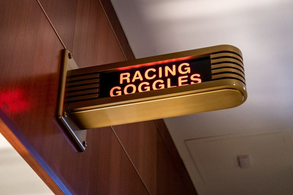 Racing Goggles sign at Race Through New York Starring Jimmy Fallon