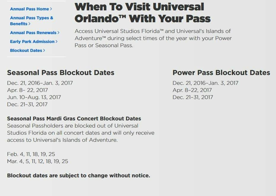 Annual pass blockout dates at the Universal Orlando theme parks