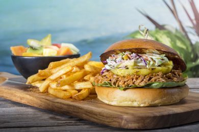 Mango BBQ pulled pork sandwich from Kohola Reef Restaurant & Social Club at Universal's Volcano Bay