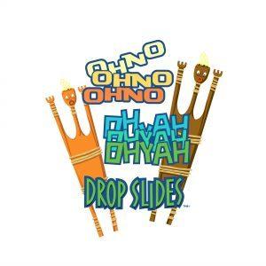 Ohyah and Ohno Drop Slides logo at Universal's Volcano Bay