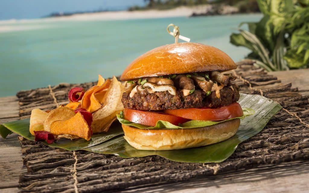 Quinoa Edamame Burger from Kohola Reef Restaurant & Social Club at Universal's Volcano Bay
