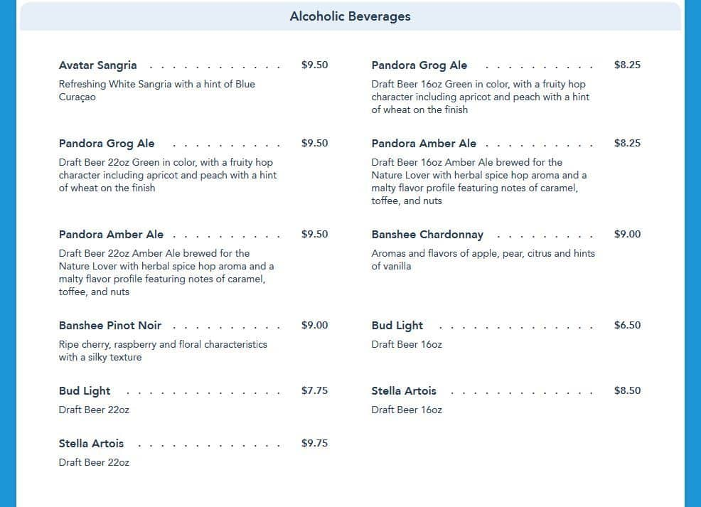Satu'li Canteen alcoholic menu in Disney's Pandora - The World of Avatar