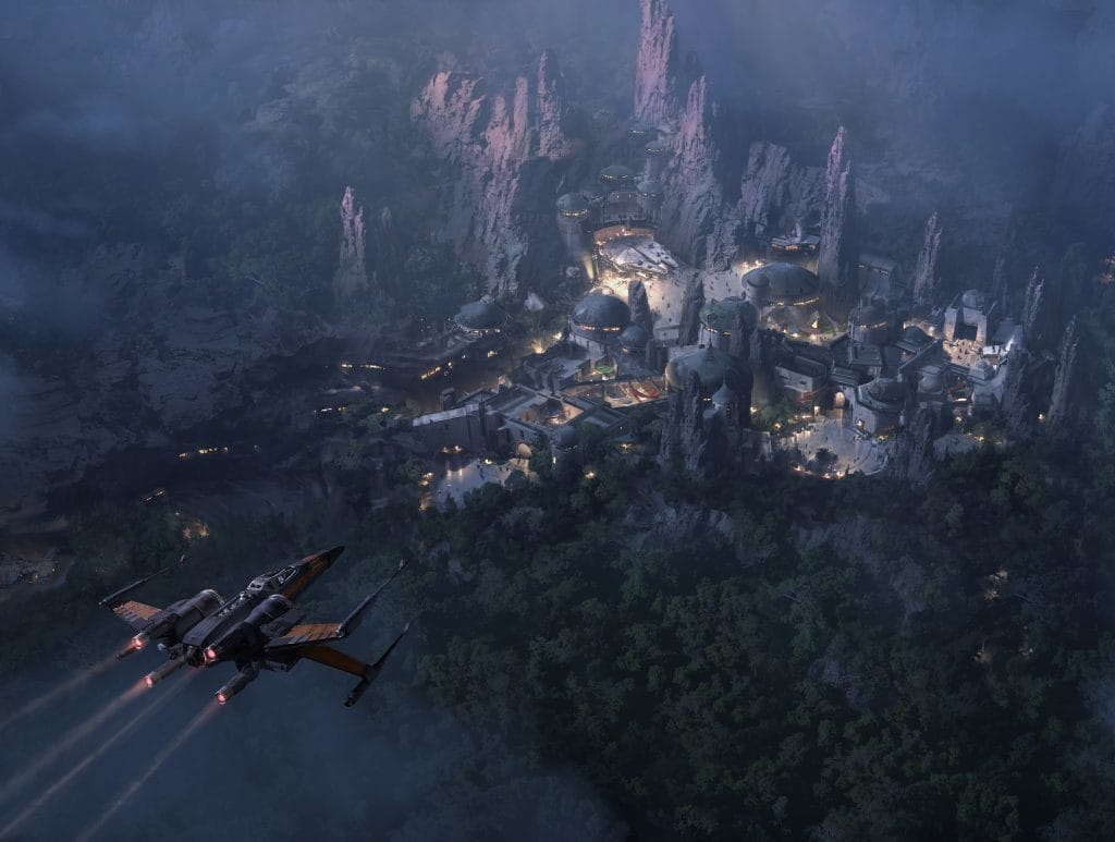 Star Wars Land at Hollywood Studios concept art at night