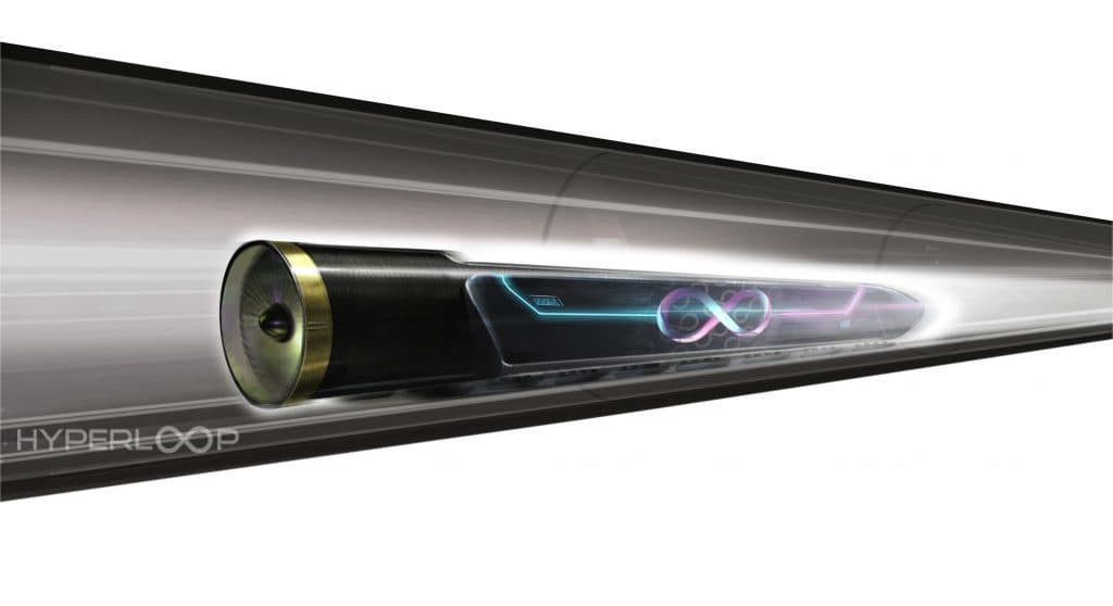 Hyperloop One train mock-up