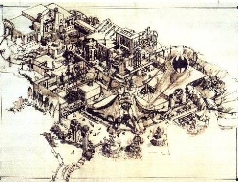 Batman Island design for the original Islands of Adventure