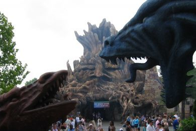 Enchanted Oak Tavern and Dueling Dragons at Islands of Adventure's Merlinwood