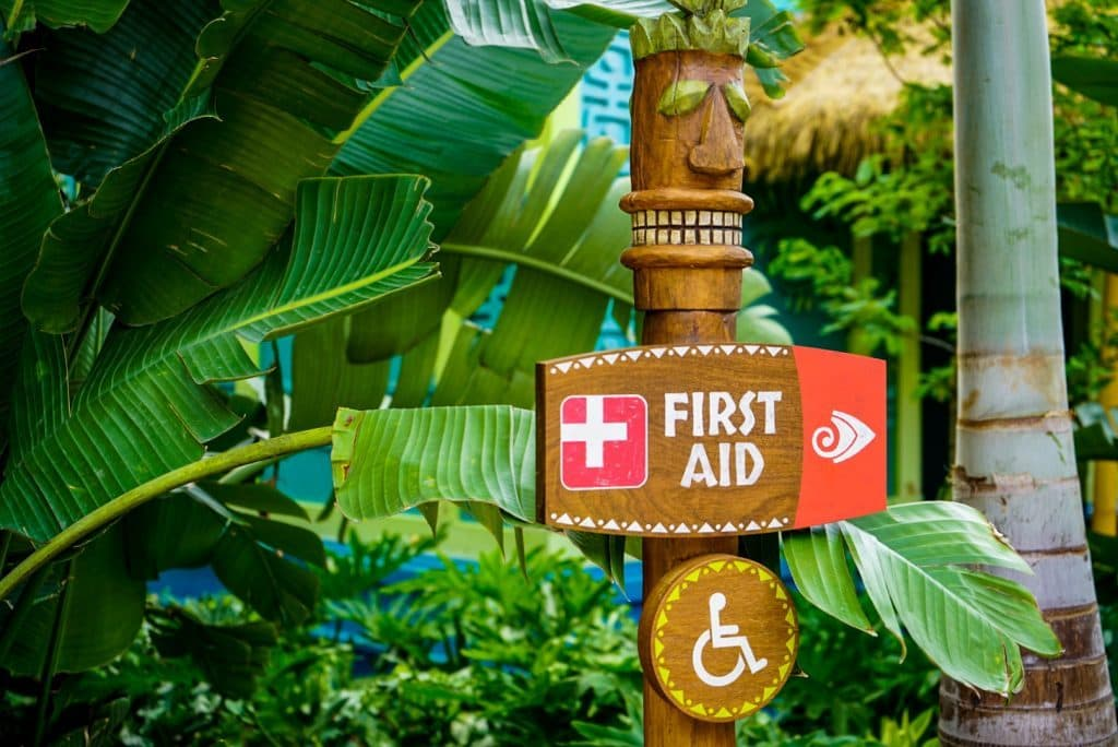 First aid sign at Universal's Volcano Bay