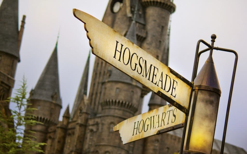 Hogsmeade Hogwarts signs at The Wizarding World of Harry Potter in Islands of Adventure