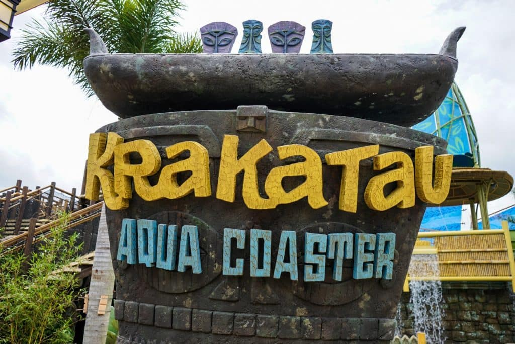 Krakatau Aqua Coaster sign at Universal's Volcano Bay