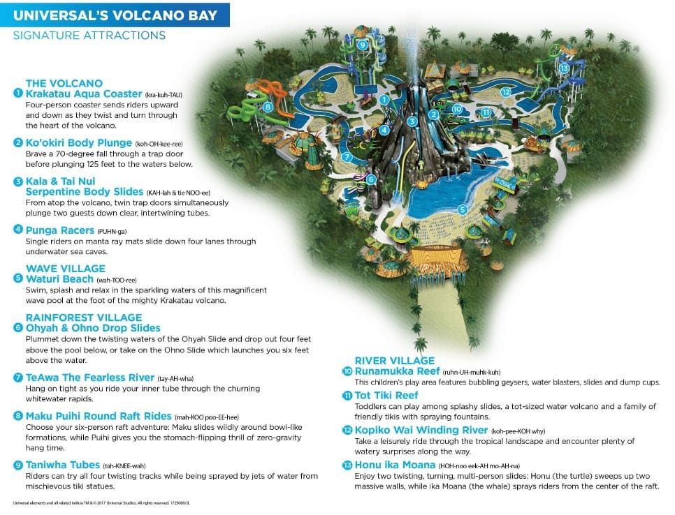 Map of Universal's Volcano Bay