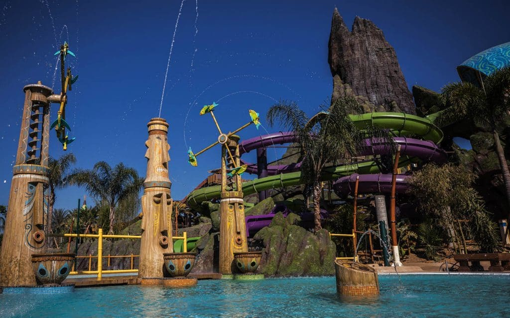 Tiki water jets at Universal's Volcano Bay