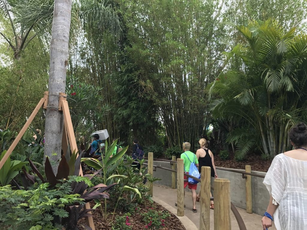 Universal's Volcano Bay walkway to the entrance