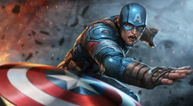 Captain America throwing his shield