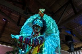 A performer at Caribbean Carnaval at Universal's Sapphire Falls Resort