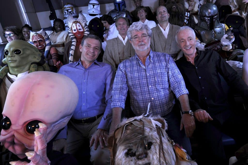 Bob Iger, George Lucas, and Anthony Daniels (C-3PO) on Star Tours: The Adventures Continue