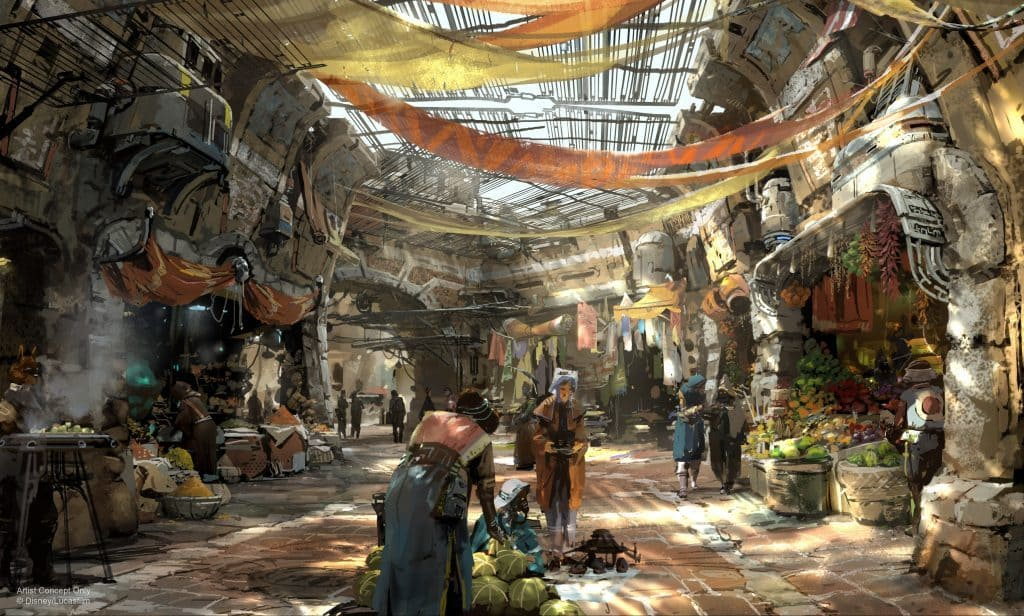 Star Wars Land marketplace concept art