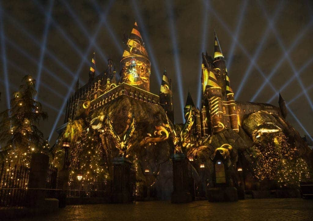 The Nighttime Lights at Hogwarts Castle at Universal Studios Hollywood