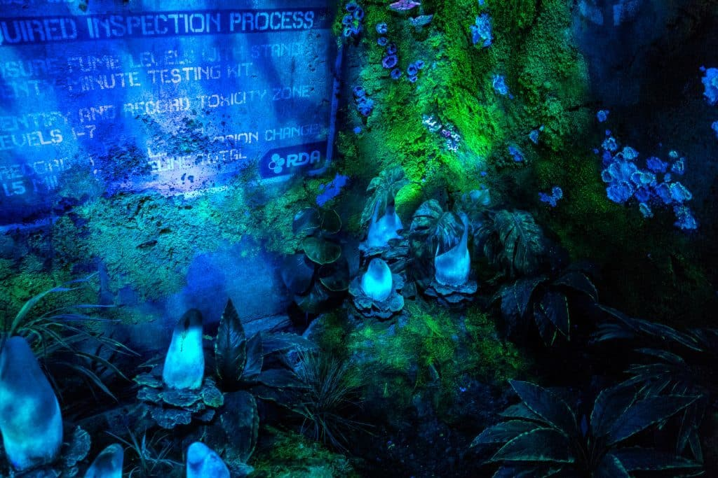 The outdoor section of Avatar Flight of Passage's queue at Pandora: The World of Avatar