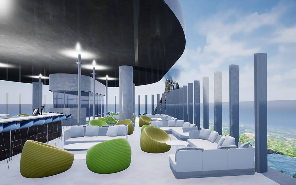 Universal's Aventura Hotel rooftop bar virtual reality rendition